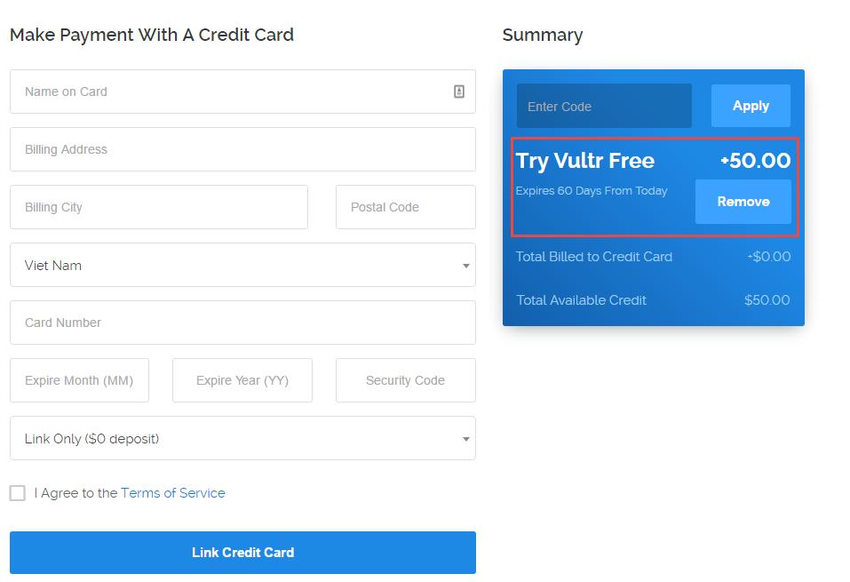 VPS Vultr tặng 50$ sử dụng trong 6 tháng